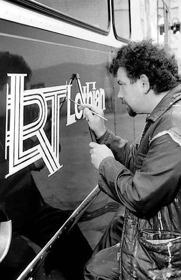 John Dickson painted the first LRT logo on the side of a bus in Edinburgh